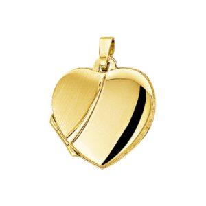 14 krt geelgouden Medaillon hart poli/mat model. 4012382
