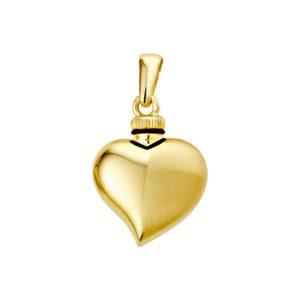 14 krt geelgouden Urnhanger hart poli/mat model. 4013239