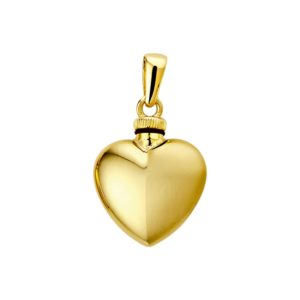14 krt geelgouden Urnhanger hart poli/mat model. 4013240