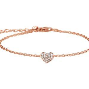 14 krt roségouden Armband hart en diamant 0.08ct H P1 16