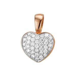 14 krt roségouden Hanger hart diamant 0.33 ct. model. 4400067