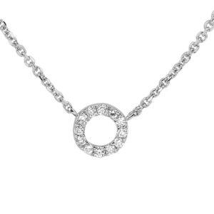 14 krt witgouden Collier diamant 0.05ct H P1 0