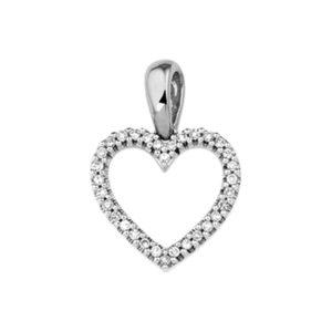 14 krt witgouden Hanger hart diamant 0.10ct H SI model. 4103620