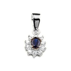 14 krt witgouden Hanger saffier en diamant 0.08 ct. model. 4103751