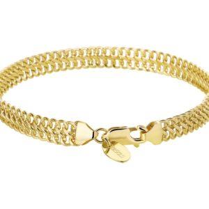 Dubbele gourmet armband van 14 krt goud met zilverenen Kern.