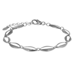 Echt zilveren gerhodineerde Armband choker poli/mat 7 mm 17