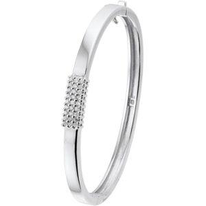 Echt zilveren gerhodineerde Slavenband scharnier zirkonia 6