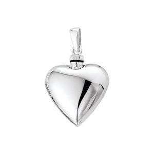 Echt zilveren gerhodineerde Urnhanger hart model. 1308820