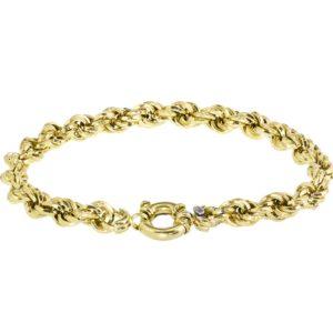 Goud met Echt zilverenen Kern Armband koord zilveren kern 6