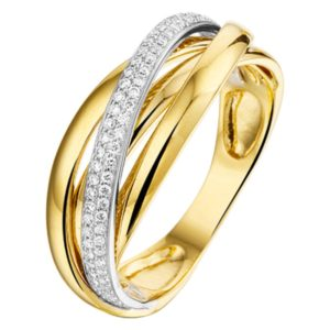 14 krt bicolor gouden Ring diamant 0.22ct H SI model. 4207439