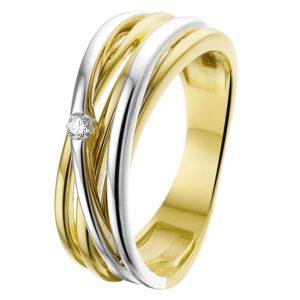 14 krt bicolor gouden Ring diamant 0.04ct H SI model. 4207682