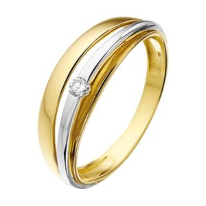 14 krt bicolor gouden Ring diamant 0.05ct H SI model. 4207260