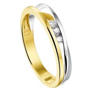 14 krt bicolor gouden Ring diamant 0.09 ct. model. 4208025