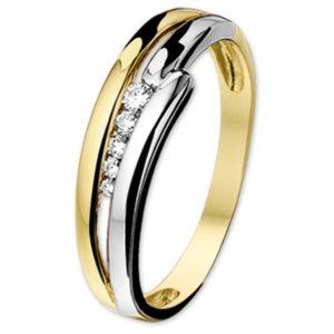 14 krt bicolor gouden Ring diamant 0.096ct H SI model. 4205936