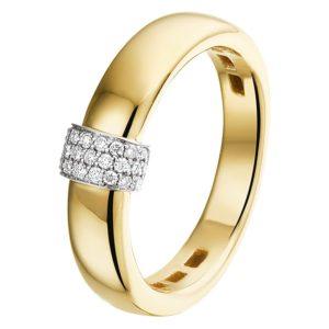 14 krt bicolor gouden Ring diamant 0.09ct H SI model. 4207829