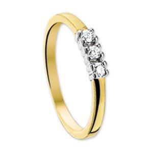 14 krt bicolor gouden Ring diamant 0.15ct H P1 model. 4206911