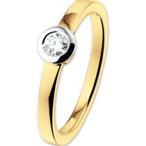 14 krt bicolor gouden Ring diamant 0.15ct H SI model. 4205111