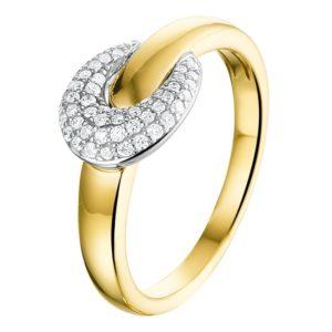 14 krt bicolor gouden Ring diamant 0.22 ct. model. 4207698