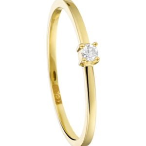 14 krt geelgouden Ring diamant 0.04 ct. model. 4016557