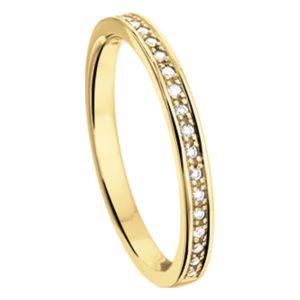 14 krt geelgouden Ring diamant 0.10 ct. model. 4014164