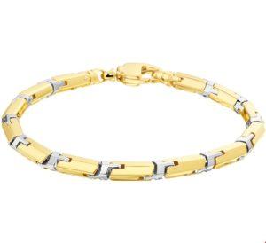 14 krt bicolor gouden heren armband 5