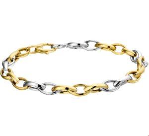 14 krt bicolor gouden dames armband 6 mm 19 cm glanzend fantasie schakel van het sieradenmerk BloomGold model 2284434207220
