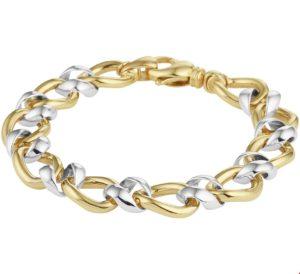 14 krt bicolor gouden dames armband gourmet 12 mm 19 cm glanzend gourmetschakel van het sieradenmerk BloomGold model 2284434208401