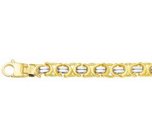 14 krt bicolor gouden heren armband plat konings 7 mm glanzend koningsschakel van het sieradenmerk BloomGold model 2284434200733