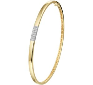 14 krt bicolor gouden dames bangle diamant 0.10ct h si glanzend  van het sieradenmerk BloomGold model 2284434208582