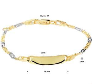14 krt bicolor gouden kinderen graveerarmband valkenoog plaat 5