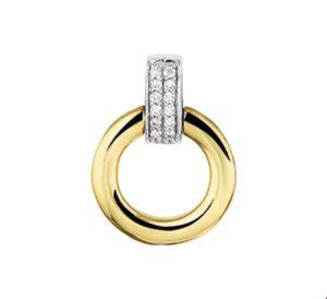 14 krt bicolor gouden dames hanger diamant 0.056ct h si glanzend  van het sieradenmerk BloomGold model 2284434207351