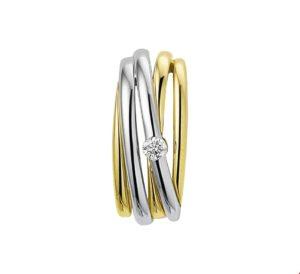 14 krt bicolor gouden dames hanger diamant 0.05ct h si glanzend  van het sieradenmerk BloomGold model 2284434207681