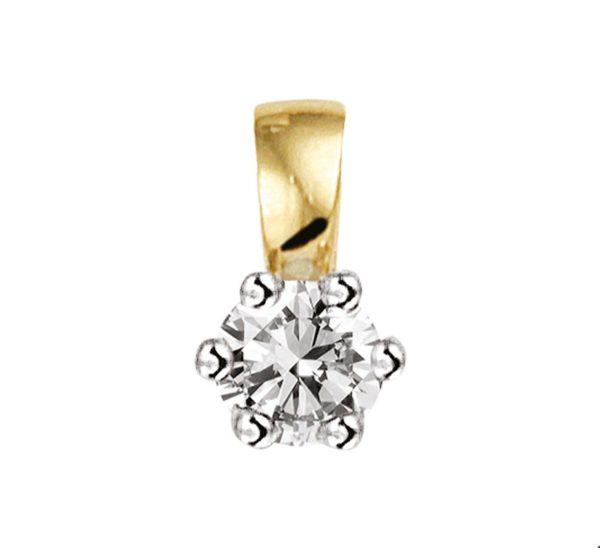 14 krt bicolor gouden dames hanger diamant 0.10ct h si glanzend  van het sieradenmerk BloomGold model 2284434208285