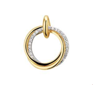 14 krt bicolor gouden dames hanger diamant 0.12ct h si glanzend  van het sieradenmerk BloomGold model 2284434207704