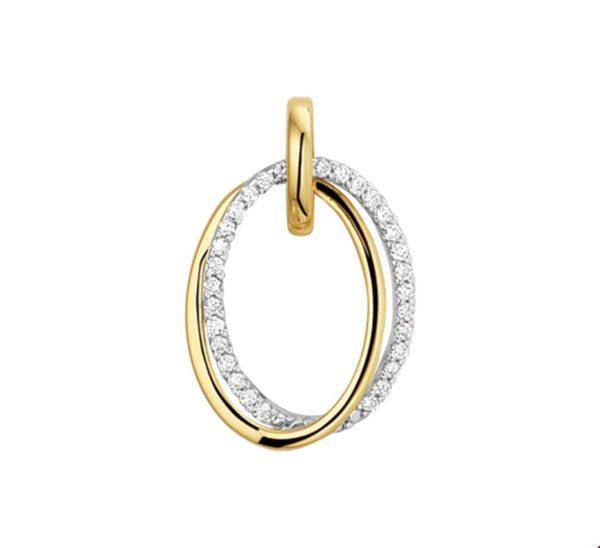 14 krt bicolor gouden dames hanger diamant 0.15ct h si glanzend  van het sieradenmerk BloomGold model 2284434207846