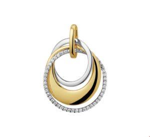 14 krt bicolor gouden dames hanger diamant 0.21ct h si glanzend  van het sieradenmerk BloomGold model 2284434207802