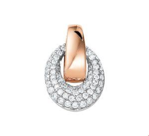 14 krt bicolor gouden dames hanger diamant 0.28ct h si glanzend  van het sieradenmerk BloomGold model 2284434500598