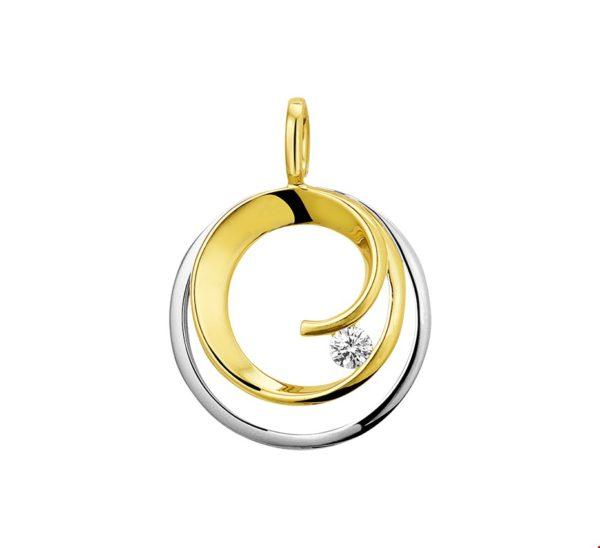 14 krt bicolor gouden dames hanger rond diamant 0.09ct h si glanzend  van het sieradenmerk BloomGold model 2284434208244
