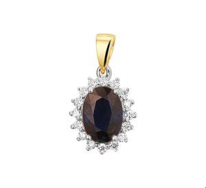 14 krt bicolor gouden dames hanger saffier en diamant 0.11ct h si glanzend  van het sieradenmerk BloomGold model 2284434208182