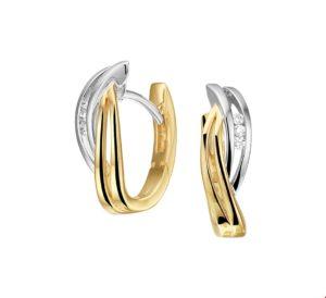 14 krt bicolor gouden dames klapoorringen diamant 0.05ct (2x0.025ct) h si glanzend  van het sieradenmerk BloomGold model 2284434208188