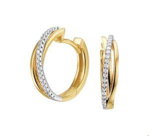 14 krt bicolor gouden dames klapoorringen diamant 0.12ct (2x0.06ct) h si glanzend  van het sieradenmerk BloomGold model 2284434207703