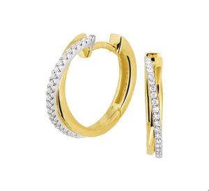 14 krt bicolor gouden dames klapoorringen diamant 0.12ct (2x0.06ct) h si glanzend  van het sieradenmerk BloomGold model 2284434207847