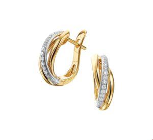 14 krt bicolor gouden dames klapoorringen diamant 0.16ct (2x0.08ct) h si glanzend  van het sieradenmerk BloomGold model 2284434207825