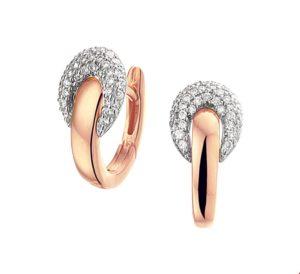 14 krt bicolor gouden dames klapoorringen diamant 0.28ct (2x0.14ct) h si glanzend  van het sieradenmerk BloomGold model 2284434500597