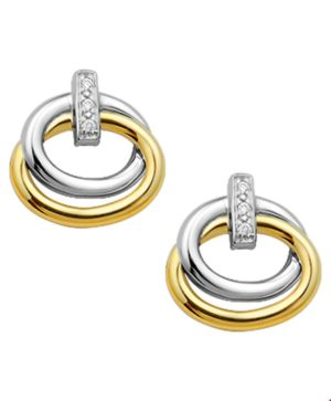 14 krt bicolor gouden dames oorknoppen diamant 0.02ct (2x0.01ct) h si glanzend  van het sieradenmerk BloomGold model 2284434205252