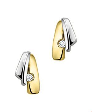 14 krt bicolor gouden dames oorknoppen diamant 0.03ct (2x0.015) h si glanzend  van het sieradenmerk BloomGold model 2284434206360