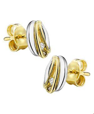 14 krt bicolor gouden dames oorknoppen diamant 0.03ct (2x0.015ct) h si glanzend  van het sieradenmerk BloomGold model 2284434207100