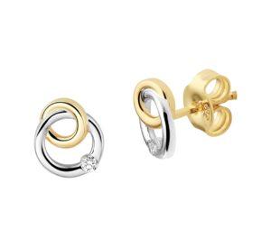 14 krt bicolor gouden dames oorknoppen diamant 0.04ct (2x0.02ct) h si glanzend  van het sieradenmerk BloomGold model 2284434208607