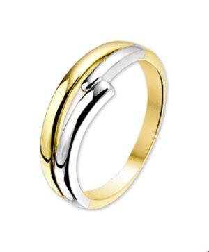 14 krt bicolor gouden dames ring glanzend  van het sieradenmerk BloomGold model 2284434205526