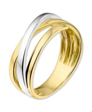14 krt bicolor gouden dames ring glanzend  van het sieradenmerk BloomGold model 2284434206184